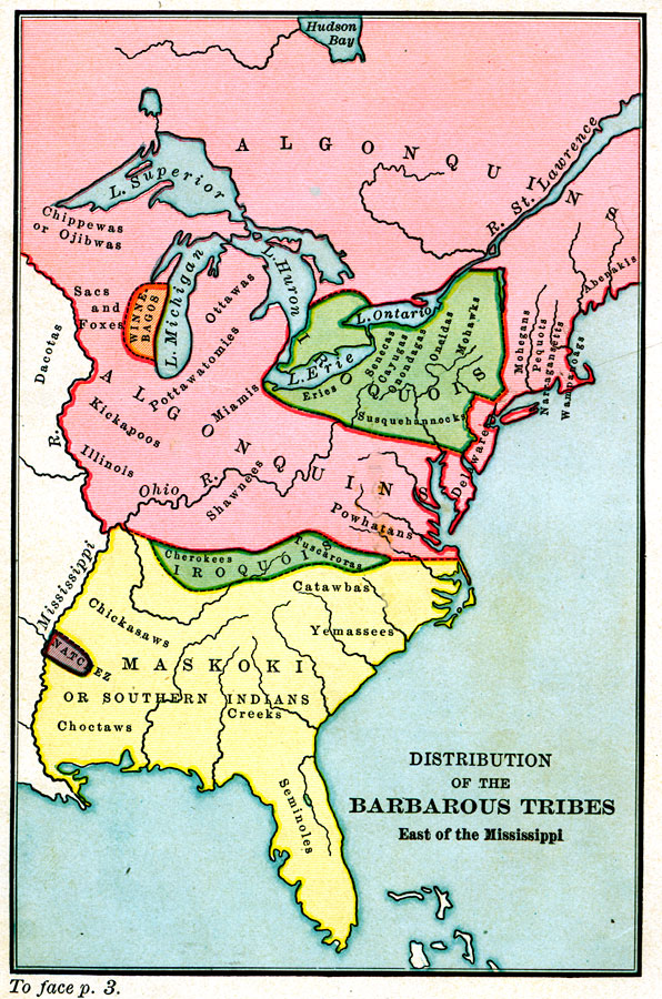 Distribution of the Barbarous Tribes East of the Mississippi, 1491