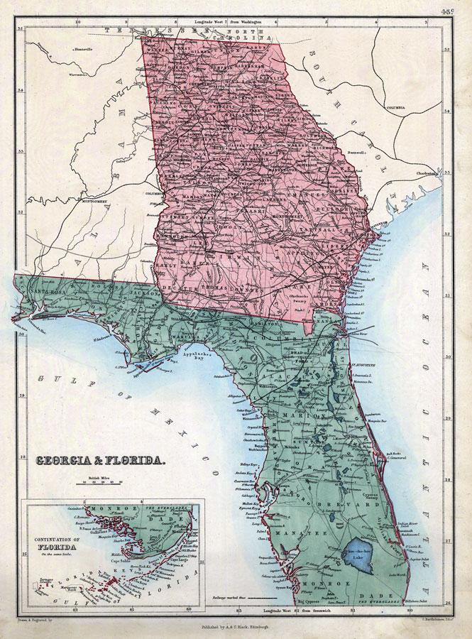 Map Of Georgia And Florida Georgia & Florida, 1873 Map Of Georgia And Florida