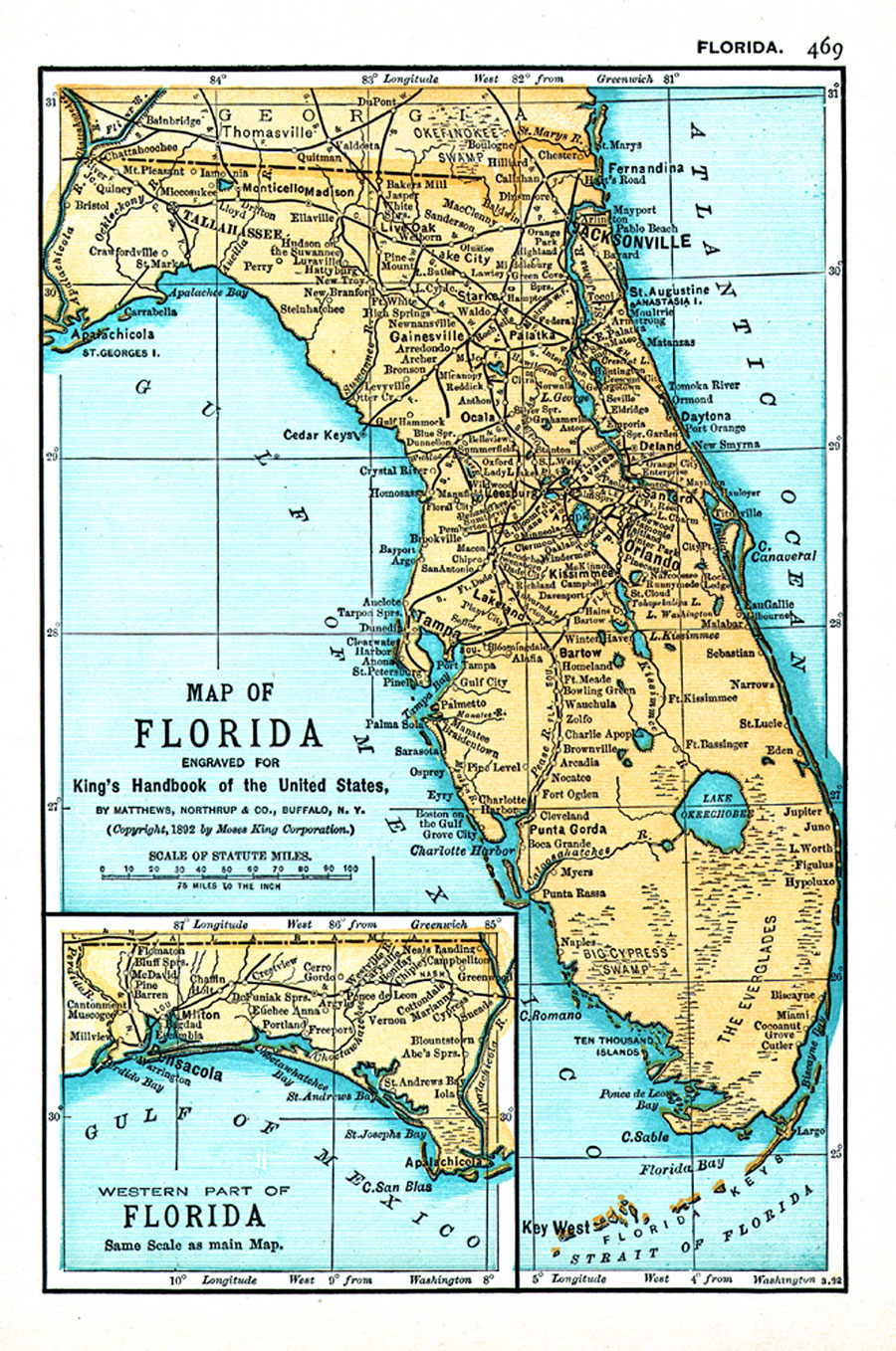 Map Of Florida Engraved For Kings Handbook Of The United States - Florida-in-us-map
