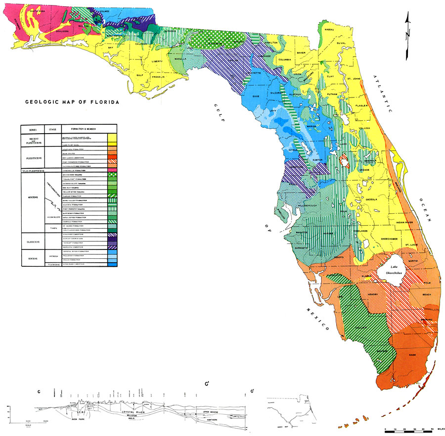 Map Of Lforida Geologic Map of Florida, 1964 Map Of Lforida