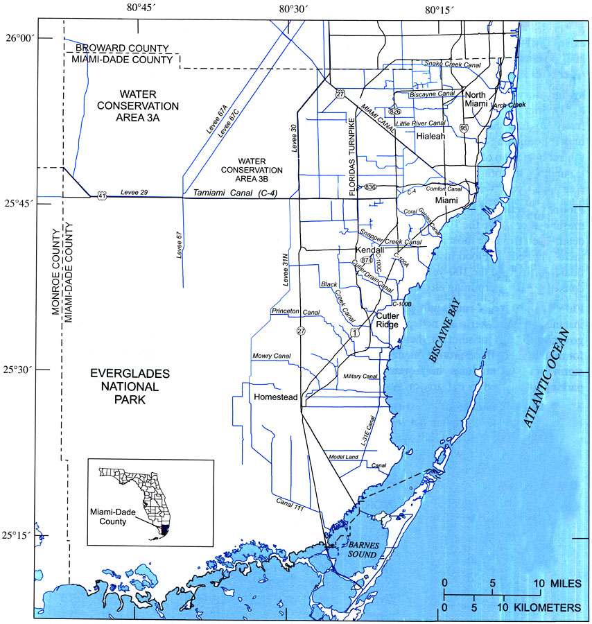 location of major roads and canals in miami-dade county, 2004