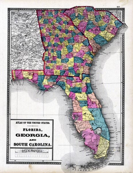 Map Of Florida Georgia South Carolina Florida, Georgia and South Carolina, 1873