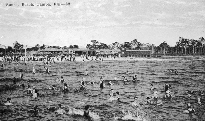 A 1920s Black And White Photo Of People Swimming At Sunset Beach Also Known As Frasier It Was Popular For Tampans