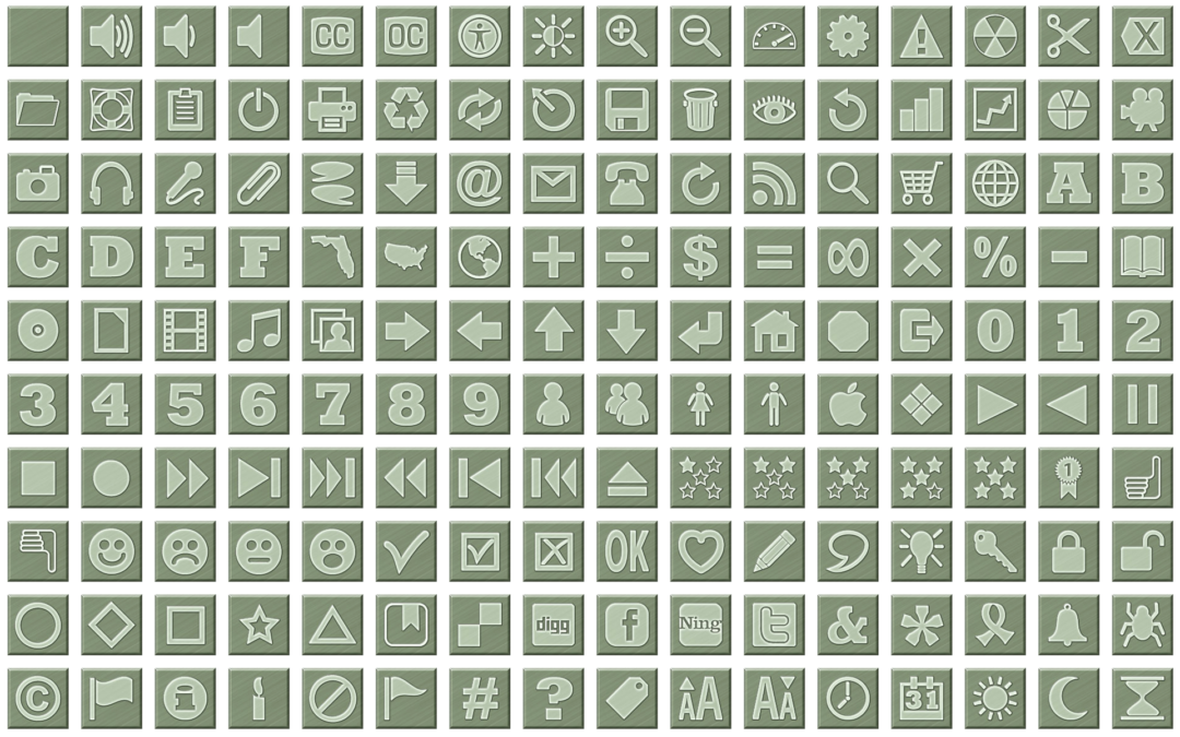 Camouflage Green Icon Buttons