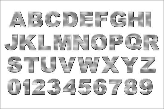 Brushed Metal Alphabet