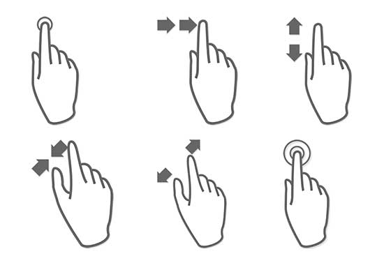 MultiTouch Gestures (Set of 7 in Various Sizes)