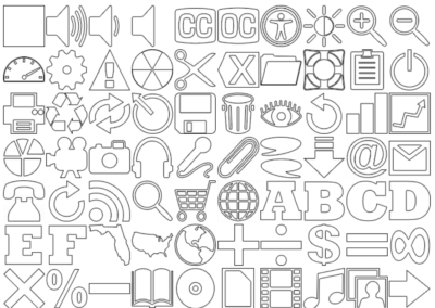 160 White Icons with Black Outline