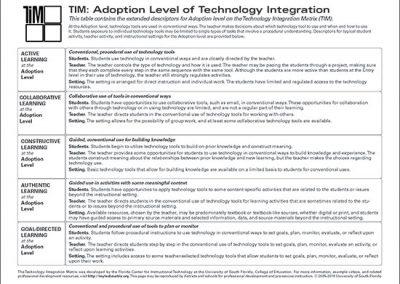 Table of Adoption Level Descriptors