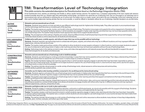 Table of Transformation Level Descriptors
