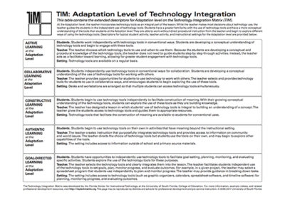 Table of Adaptation Level Descriptors