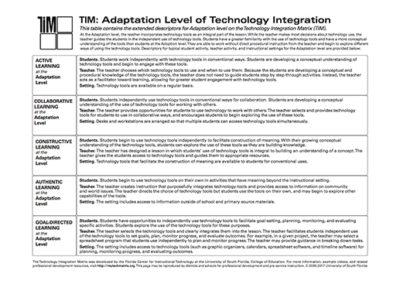 Table of Adaptation Level Descriptors