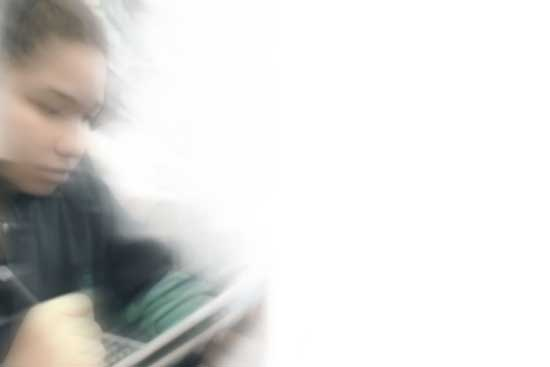 Girl Using Tablet Background