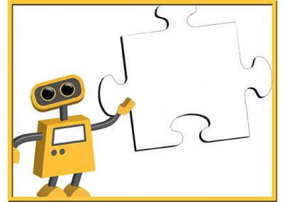 Robot 55: Puzzle Piece Background Slide