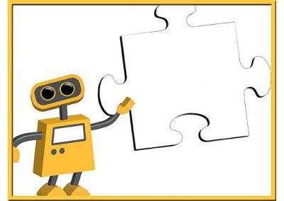 Robot 55: Puzzle Piece Background Slide
