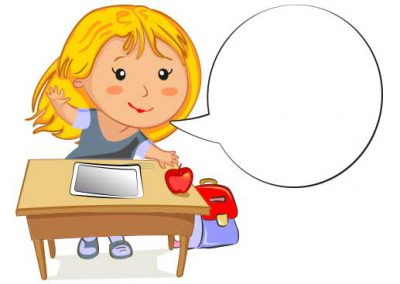 Cartoon Girl at Desk with Tablet