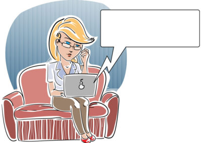 Woman on Sofa with Laptop (3 Variations)