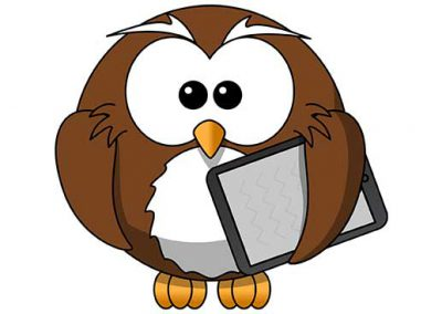 Cartoon Owl with Tablet