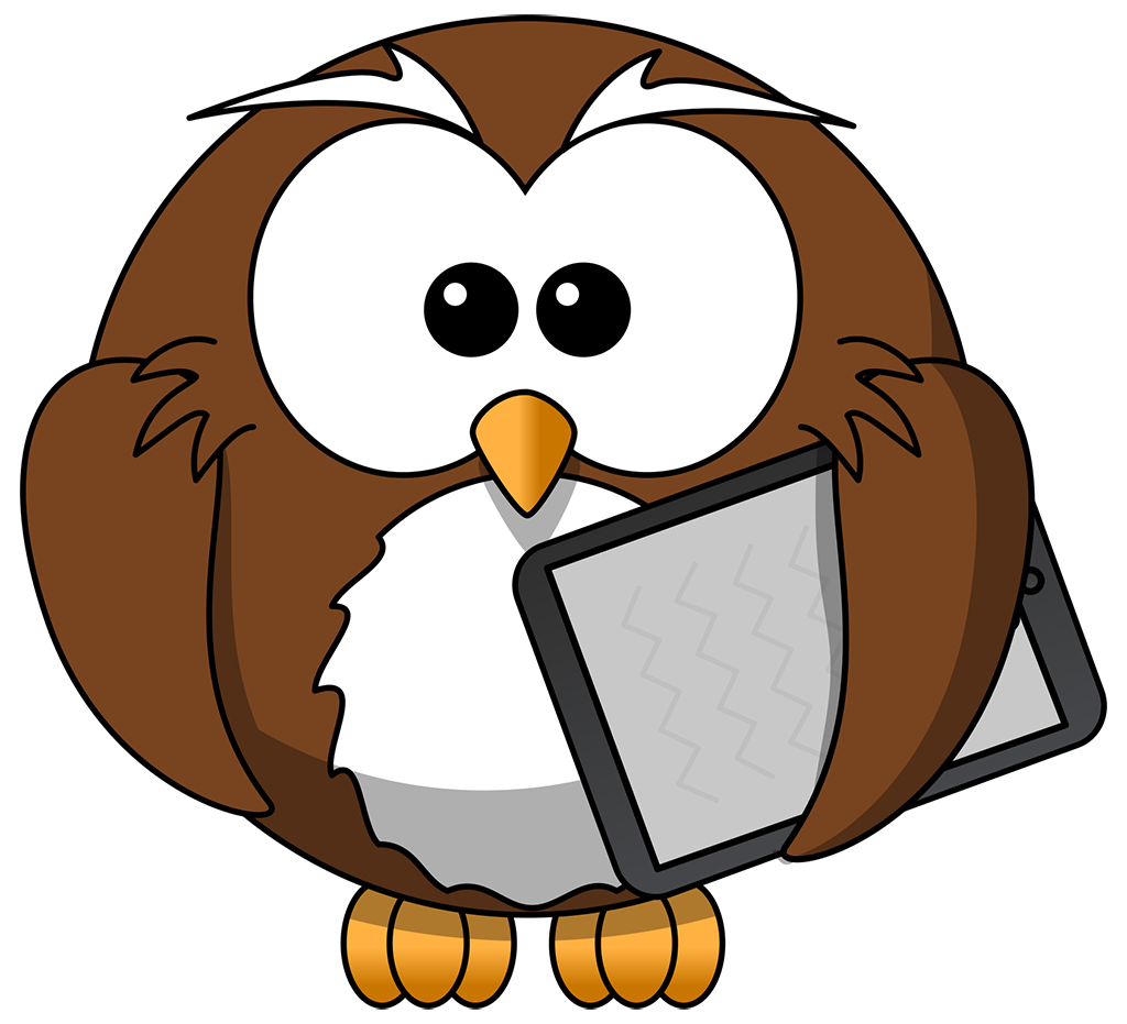 Cartoon Owl with Tablet | TIM