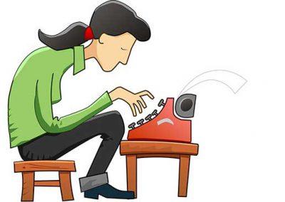 Cartoon Woman Using Typewriter