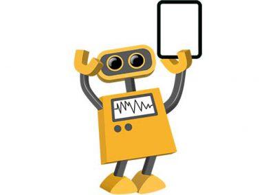 Robot 18: Transparent Tablet in Left Hand
