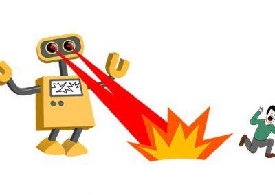 Robot 34: Botzilla and Fleeing Man
