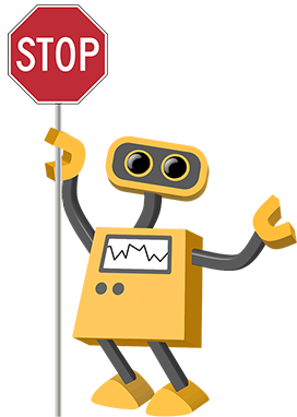 Image of robot clip art holding stop sign