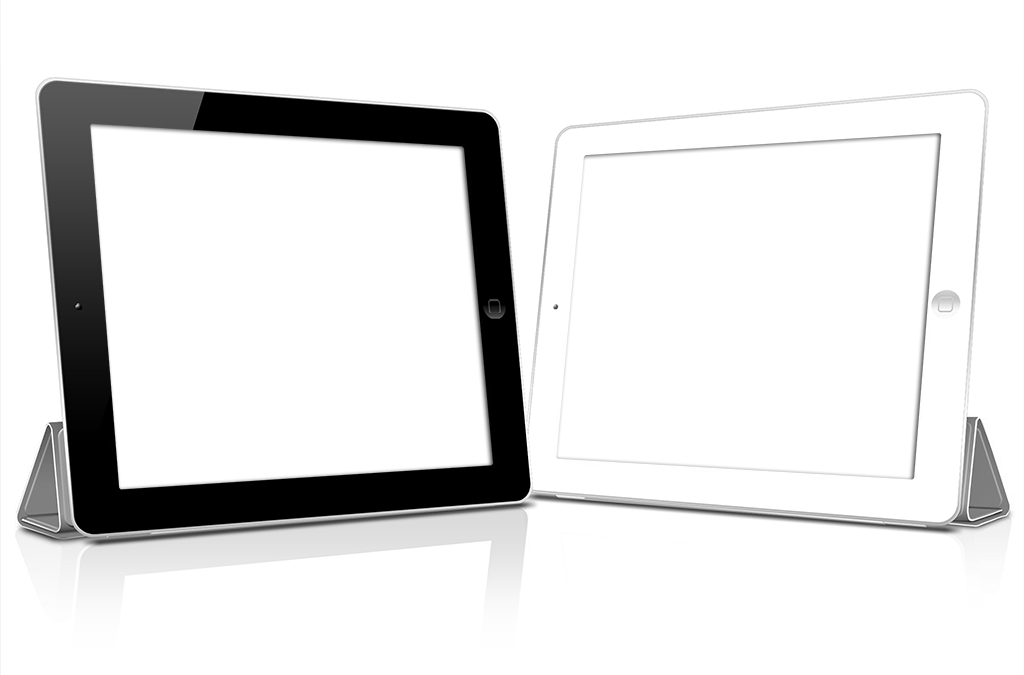 Two Horizontal Tablets with Knockout Screens