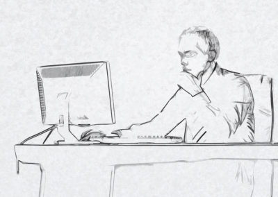 Man at Desktop Sketch