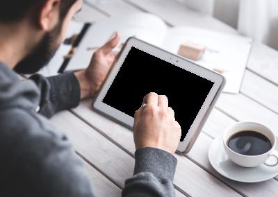 Man Using Cutout Tablet