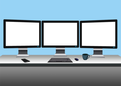 Three-Display Workstation with Knockouts