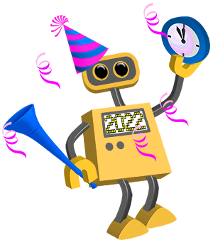 Robot 76 happy new year 2022 tim all robots in the collection have transparent backgrounds and so can be placed on top of any background color or image voltagebd Images
