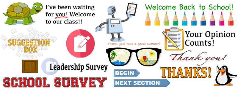 Collage of survey graphics