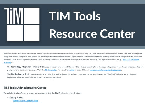 TIM Tools Resource Center