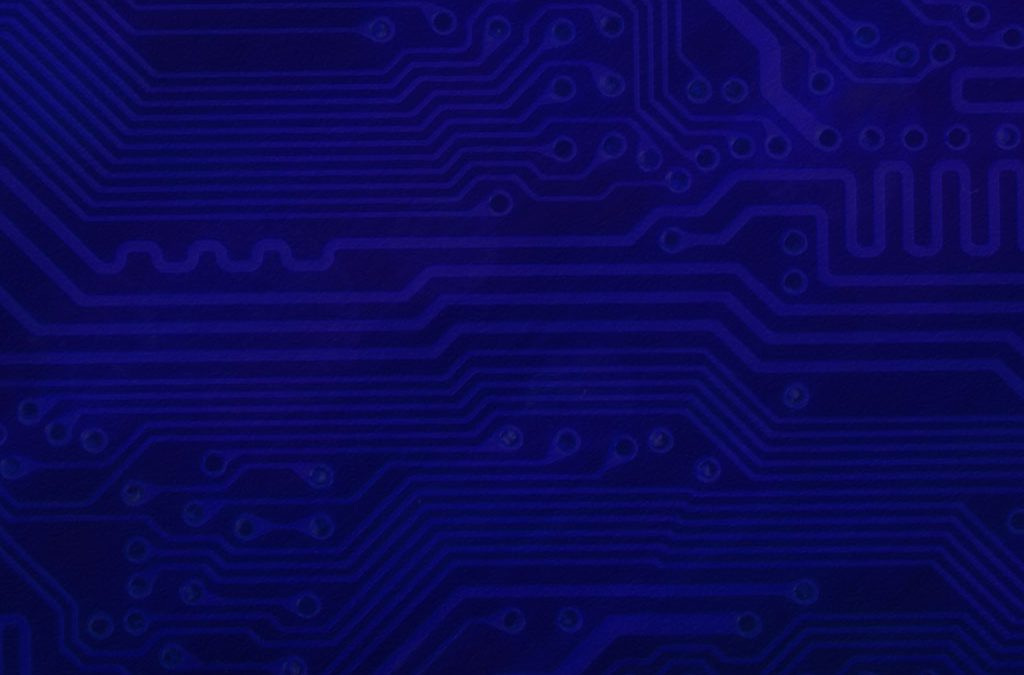 Circuit Board Background Slide: Blue-Violet