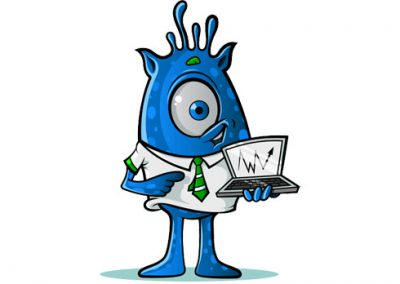 One-Eyed Alien with Laptop: Blue