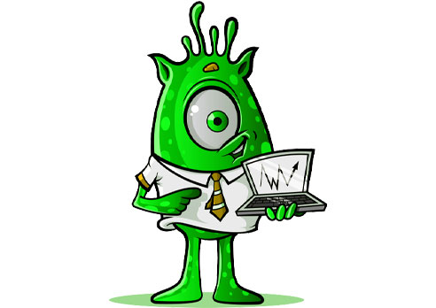 One-Eyed Alien with Laptop: Green