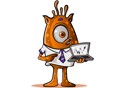 One-Eyed Alien with Laptop: Orange