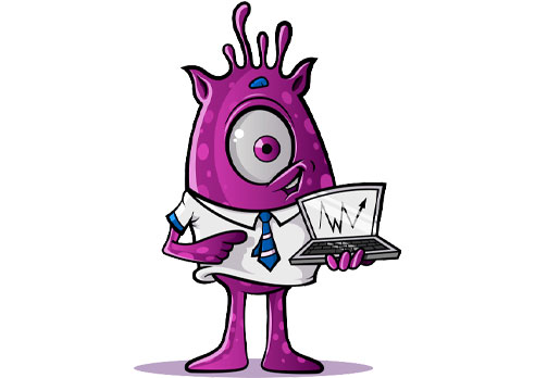 One-Eyed Alien with Laptop: Purple