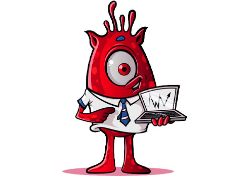 One-Eyed Alien with Laptop: Red