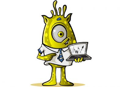 One-Eyed Alien with Laptop: Yellow