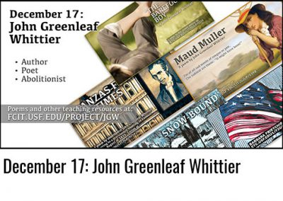 December 17: John Greenleaf Whittier