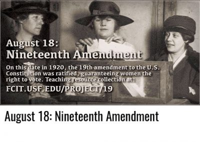 August 18: Nineteenth Amendment