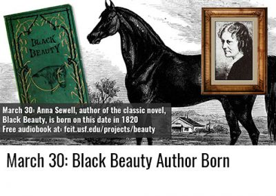 March 30: Anna Sewell, Black Beauty Author, Born