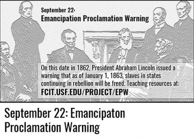 September 22: The Emancipation Proclamation Warning