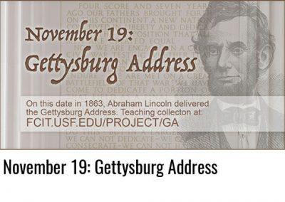 November 19: Gettysburg Address