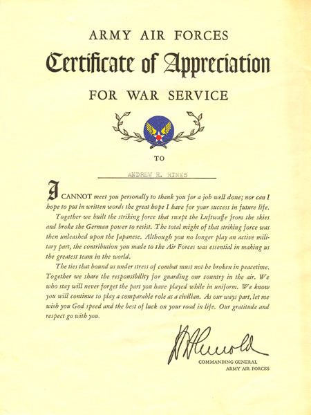 Army Air Forces Certificate of Appreciation for War Service – Army Certificate of Appreciation